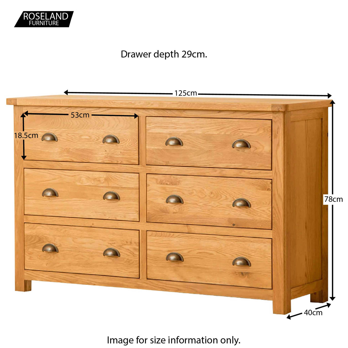 Roseland Oak 6 Drawer Chest of Drawers - Size Guide