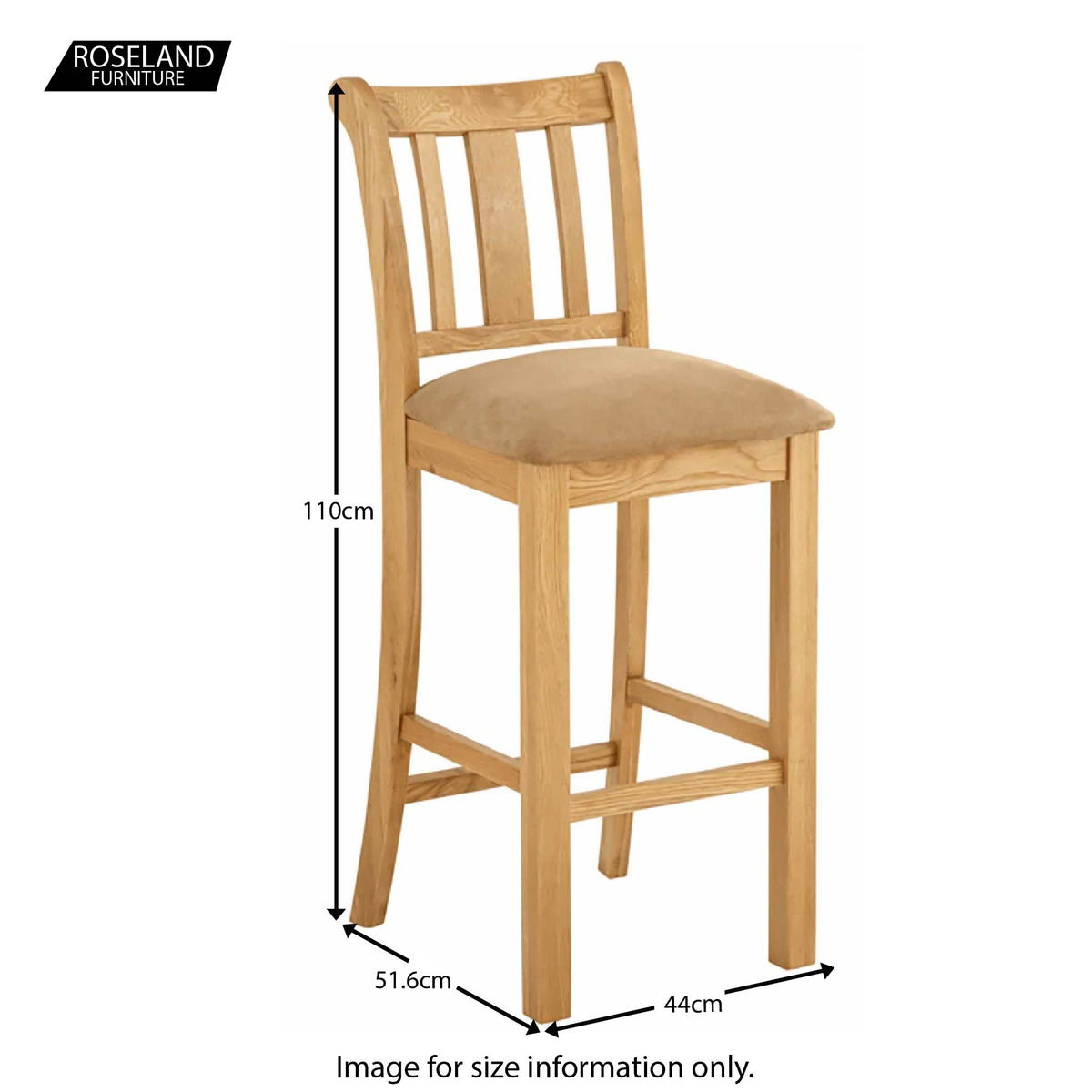 Roseland Oak Bar stool - Size Guide