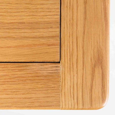 close up of round corner on the Roseland Oak Coffee Table