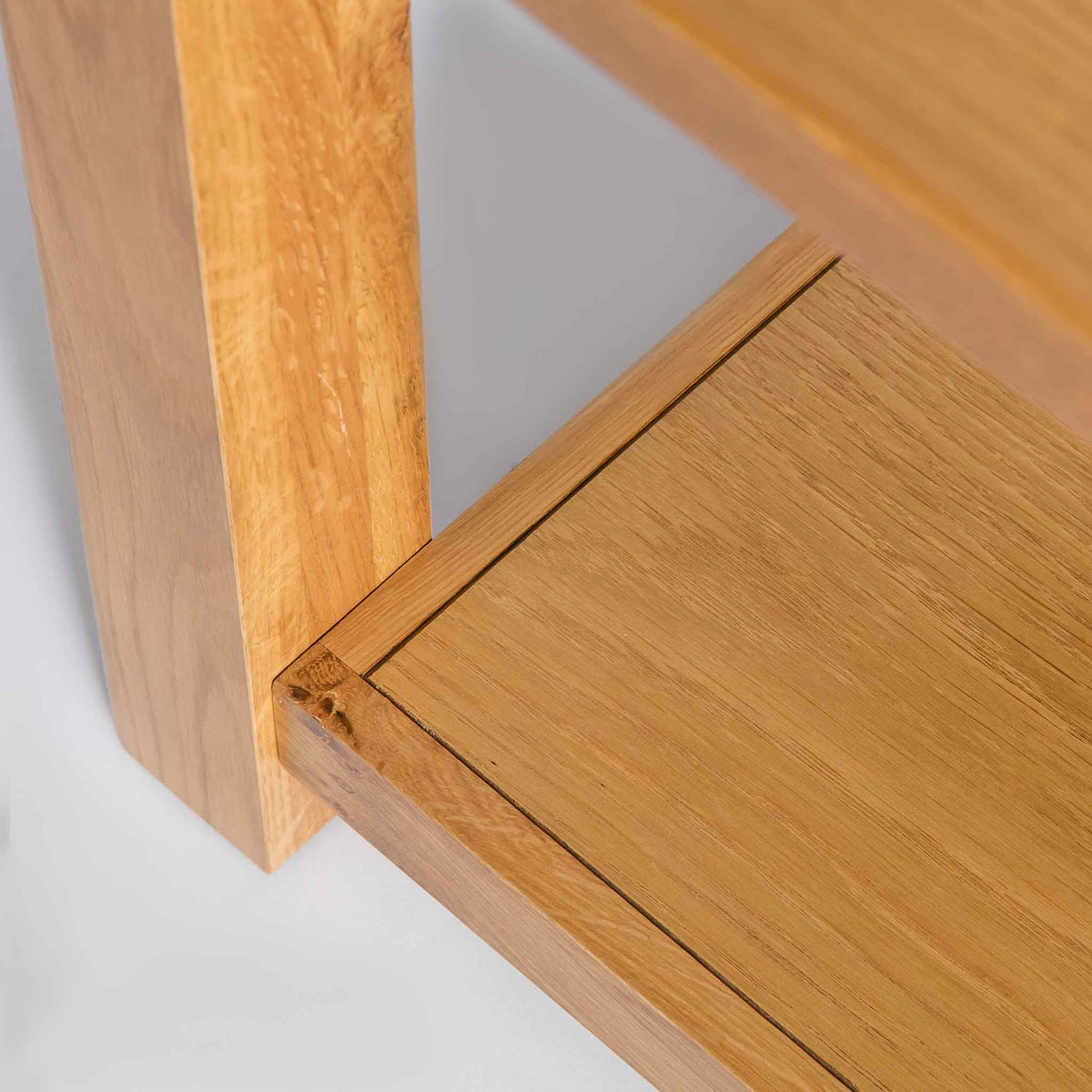 close up of lower shelf on the Roseland Oak Coffee Table