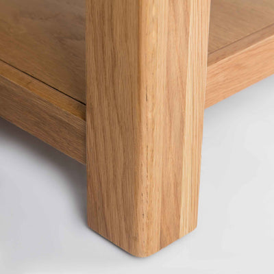 close up of solid wood leg on the Roseland Oak Coffee Table
