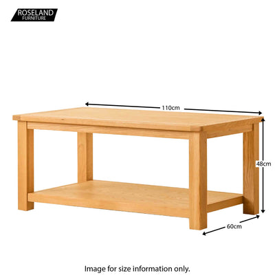 Roseland Oak Coffee Table - Size Guide