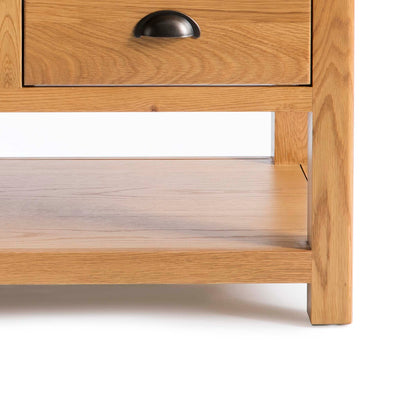 Drawer with dovetail joint of Roseland Oak 2 Drawer Coffee Table