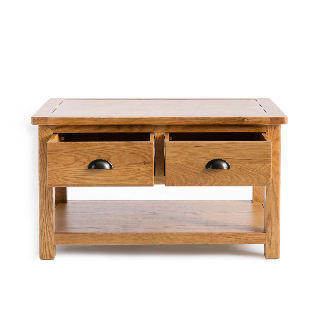 Top corner - Roseland Oak 2 Drawer Coffee Table