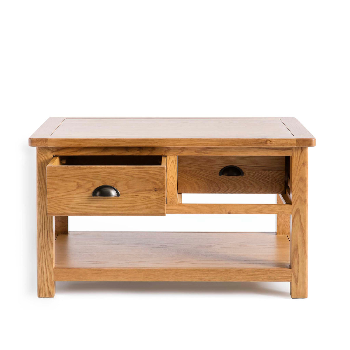 Lower shelf of Roseland Oak 2 Drawer Coffee Table