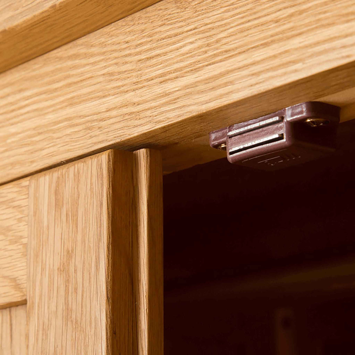 Door latch of Roseland Oak Double Wardrobe & Drawers