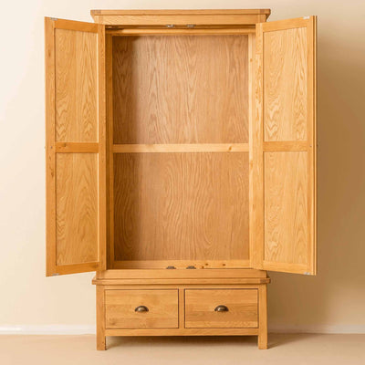 Roseland Oak Double Wardrobe & Drawers with doors open