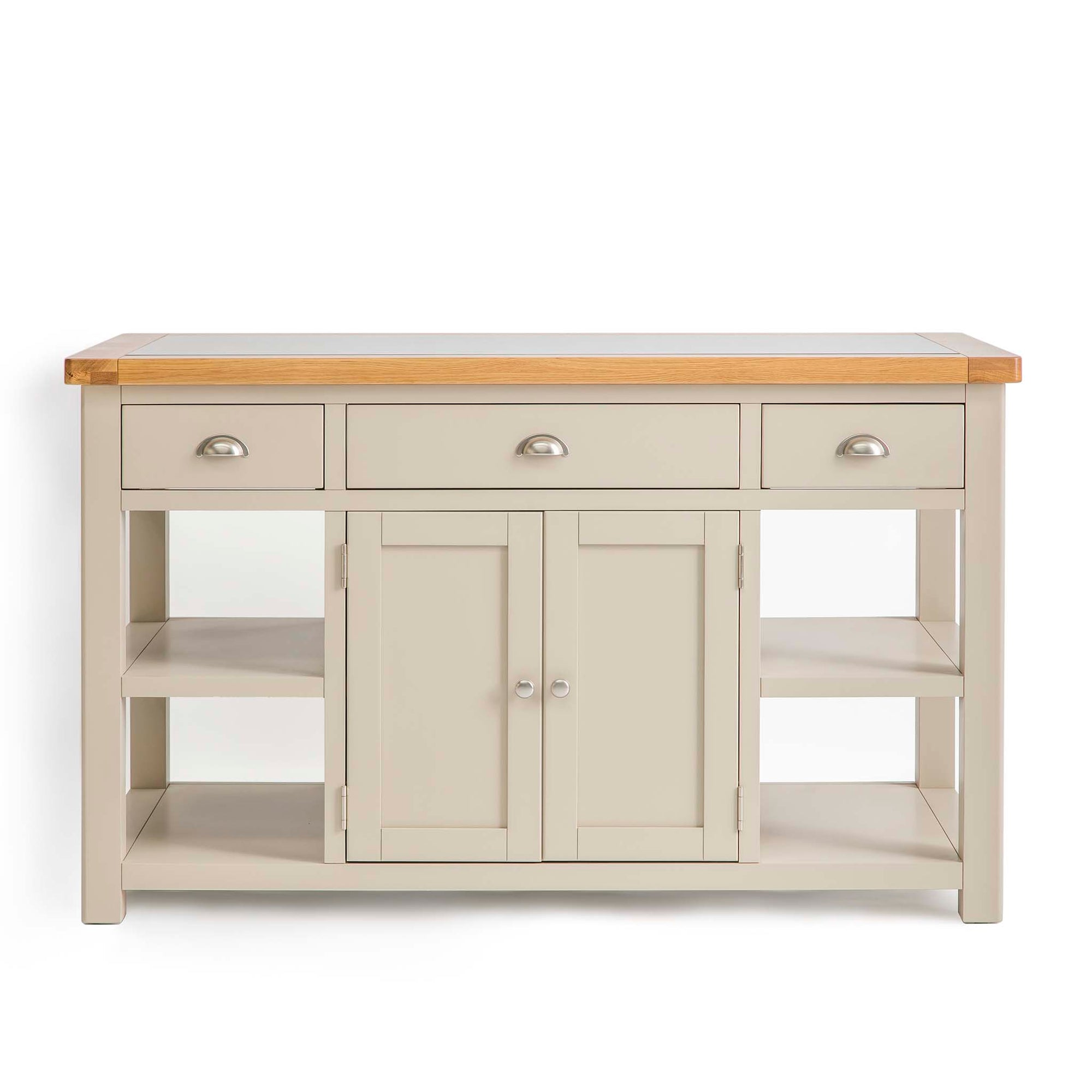Padstow Stone Grey Large Kitchen Island by Roseland Furniture