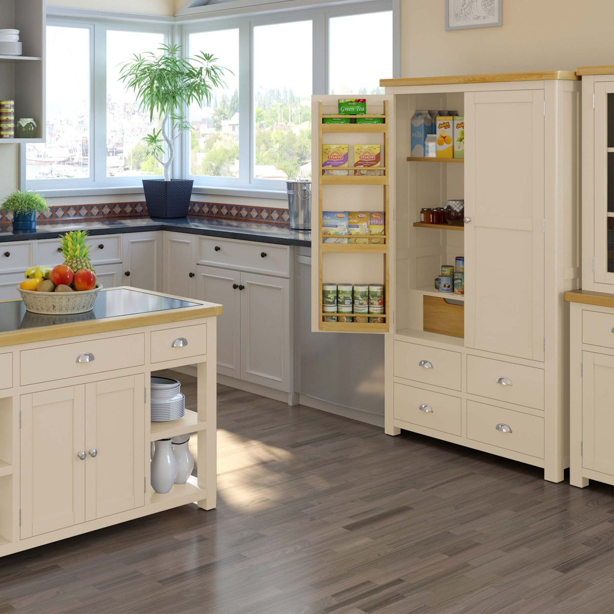 Lifestyle image with the Padstow Cream Large Kitchen Larder Unit from Roseland Furniture