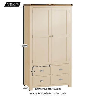 Padstow Cream Large Kitchen Larder Unit - Size guide