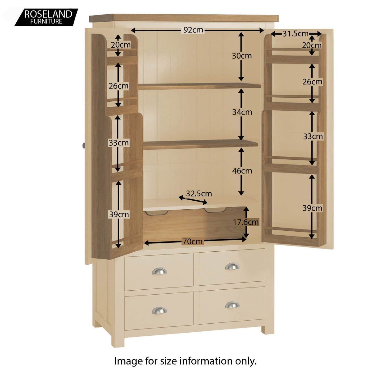 Padstow Cream Large Kitchen Larder Unit - Inside Size Guide