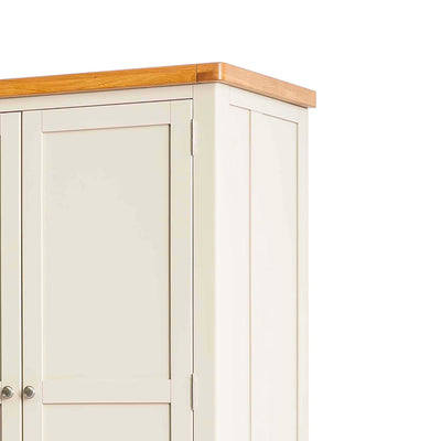 Padstow Cream Large Kitchen Larder Unit - View of Oak Top