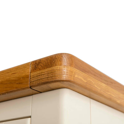 Padstow Cream Large Kitchen Larder Unit - Close up view of Oak Top