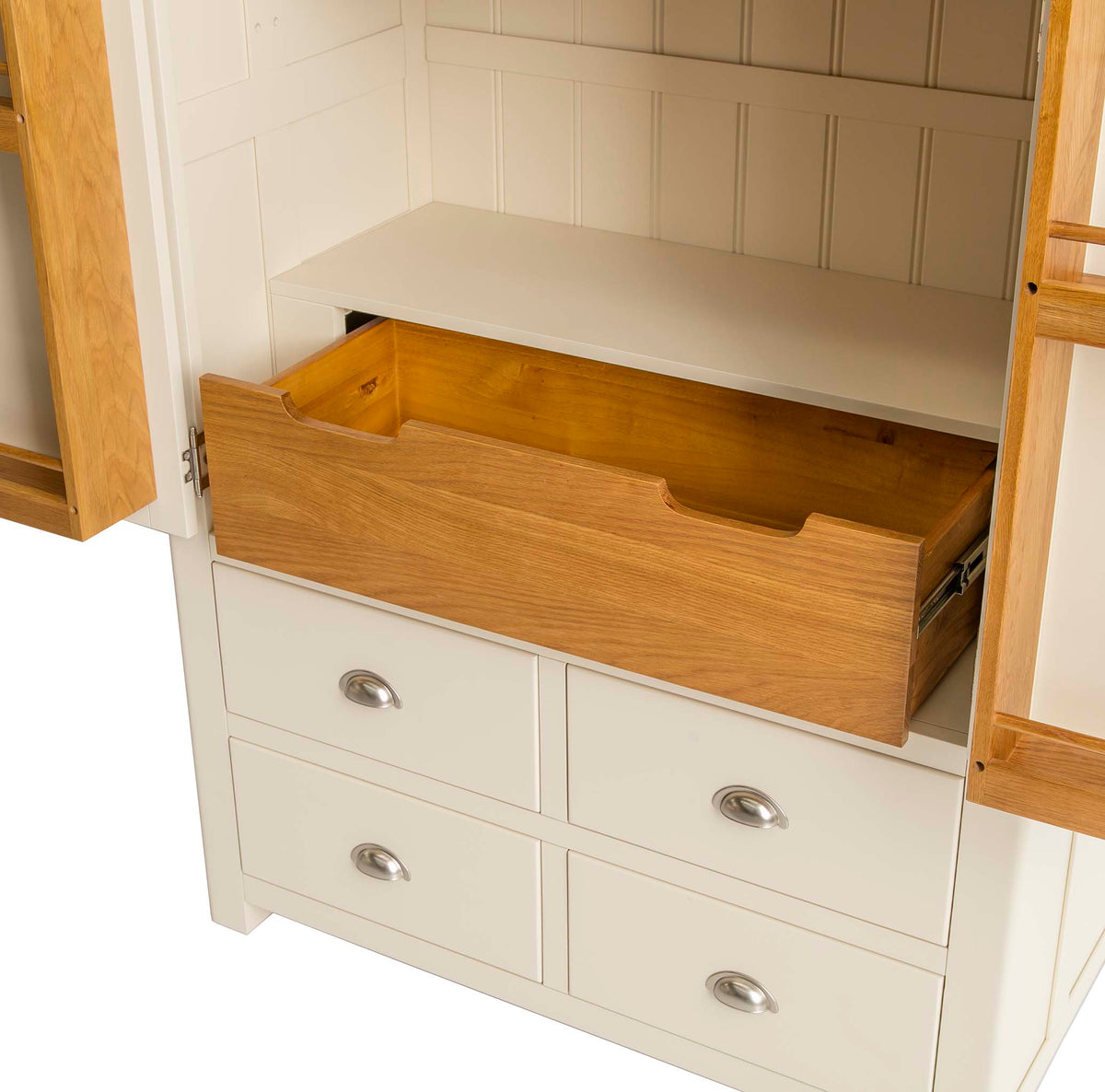 Padstow Cream Large Kitchen Larder Unit - Close up of  Inner larder drawer