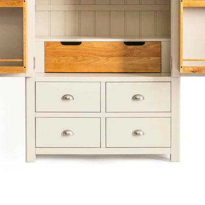 Padstow Cream Large Kitchen Larder Unit - Close up of  Bottom Drawers