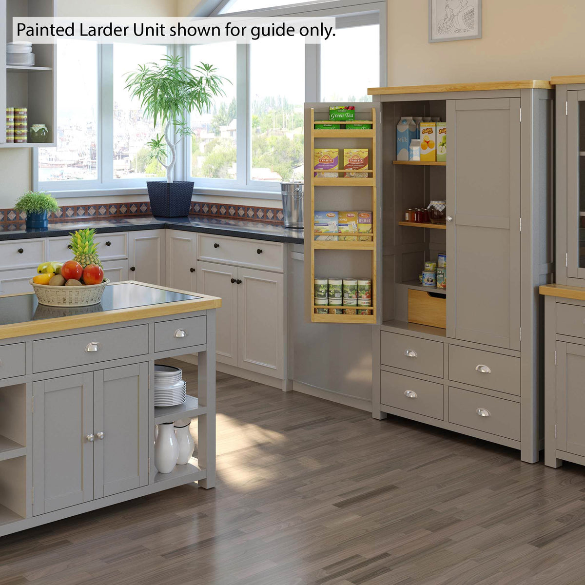 Roseland Oak Large Larder Unit - Lifestyle View in Painted