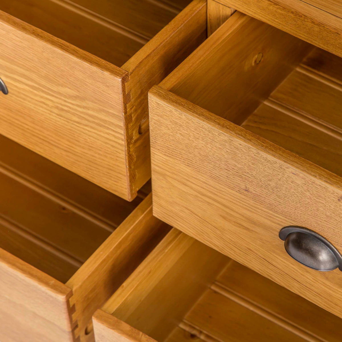 Roseland Oak Large Larder Unit - Close up of drawers when open