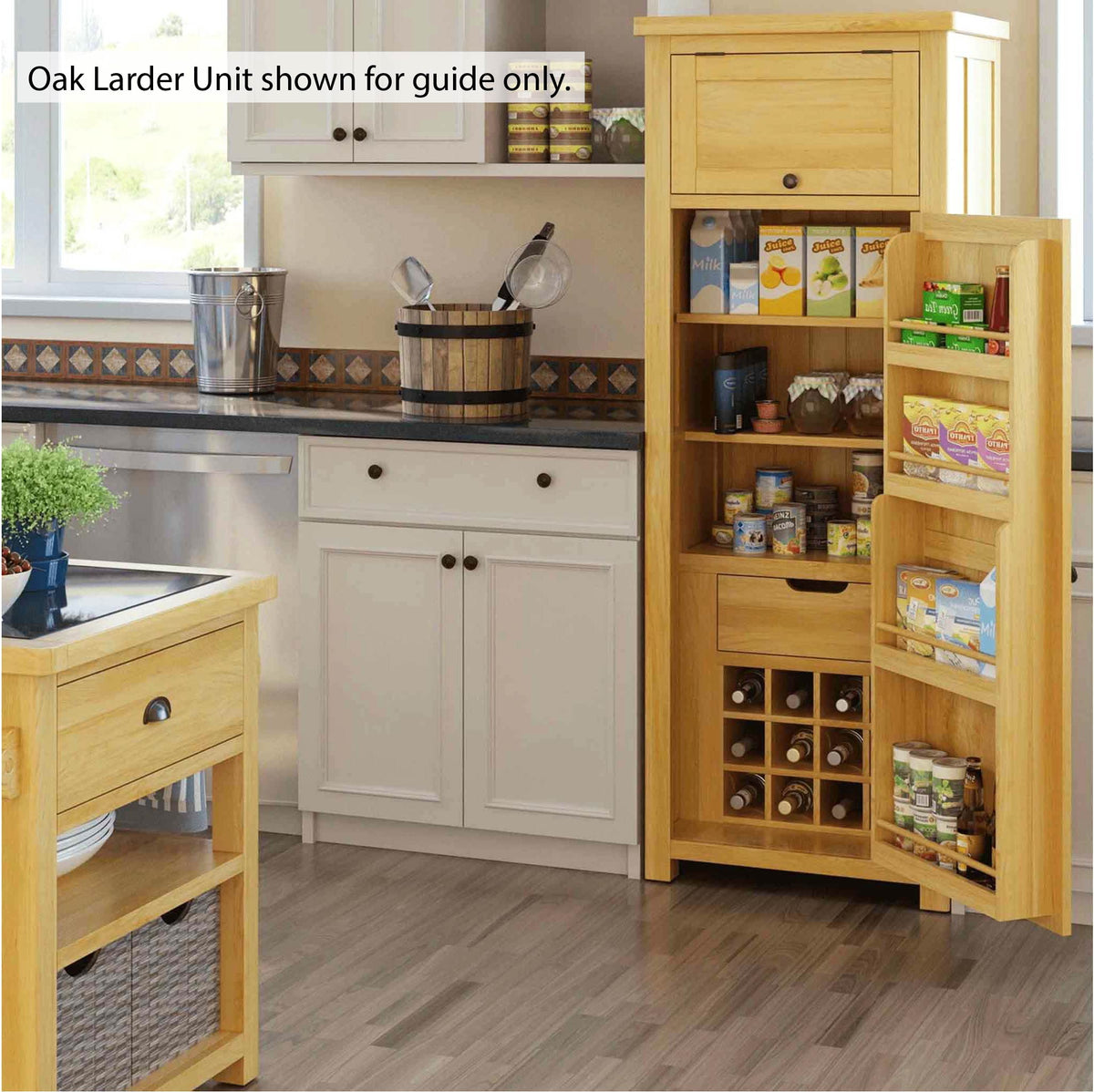 Padstow Grey Small Larder Unit - Lifestyle View shown in Oak