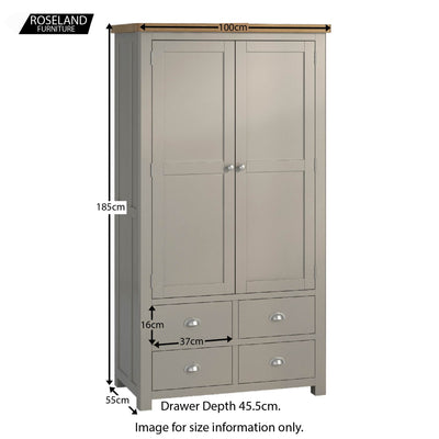 Padstow Grey Large Larder Unit - External Size Guide