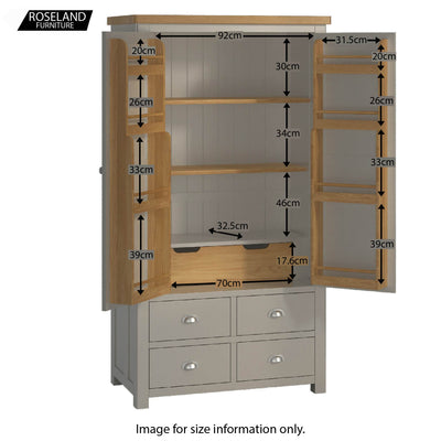 Padstow Grey Large Larder Unit - Top Internal Size Guide