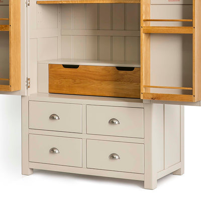 Padstow Stone Grey Large Larder Unit - Close up of inner cupboard Larder Drawer