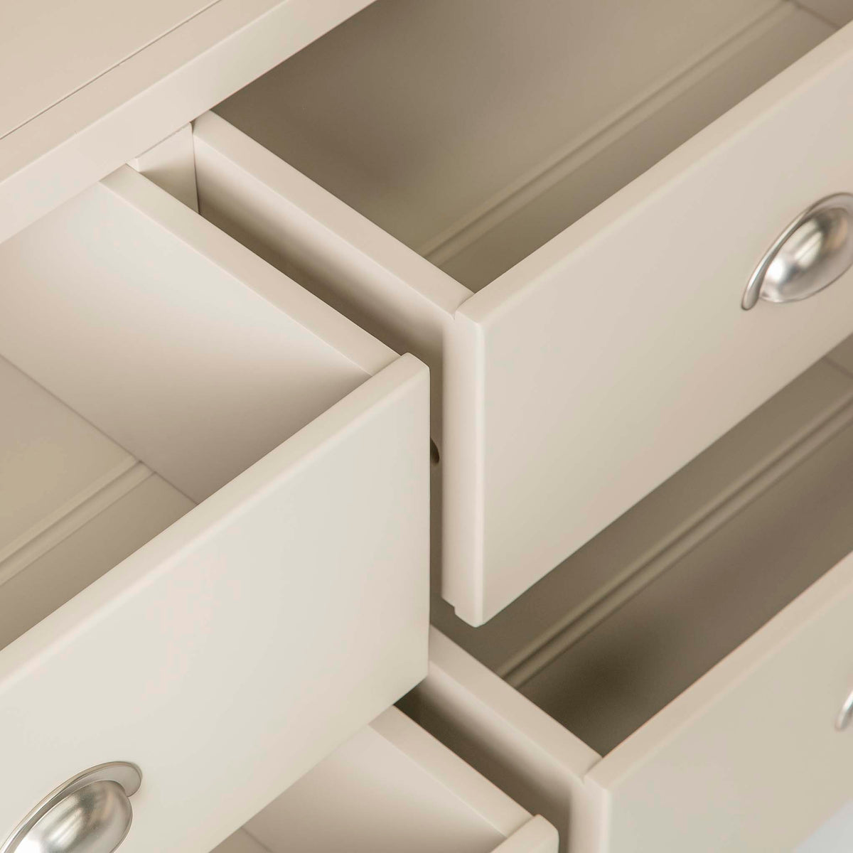 Padstow Stone Grey Large Larder Unit - Close up of Lower Drawers