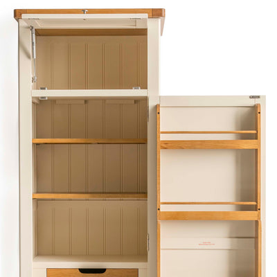 Padstow Cream Slim Larder Unit from Roseland Furniture - Close up of inside cupboard