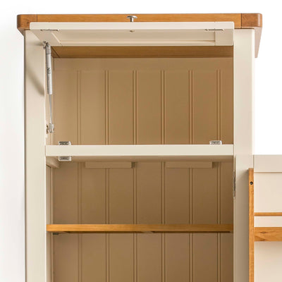 Padstow Cream Slim Larder Unit - Close up of top cupboards