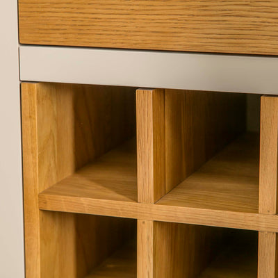 Padstow Stone Grey Small Larder Unit - Close up of  inner Wine Rack