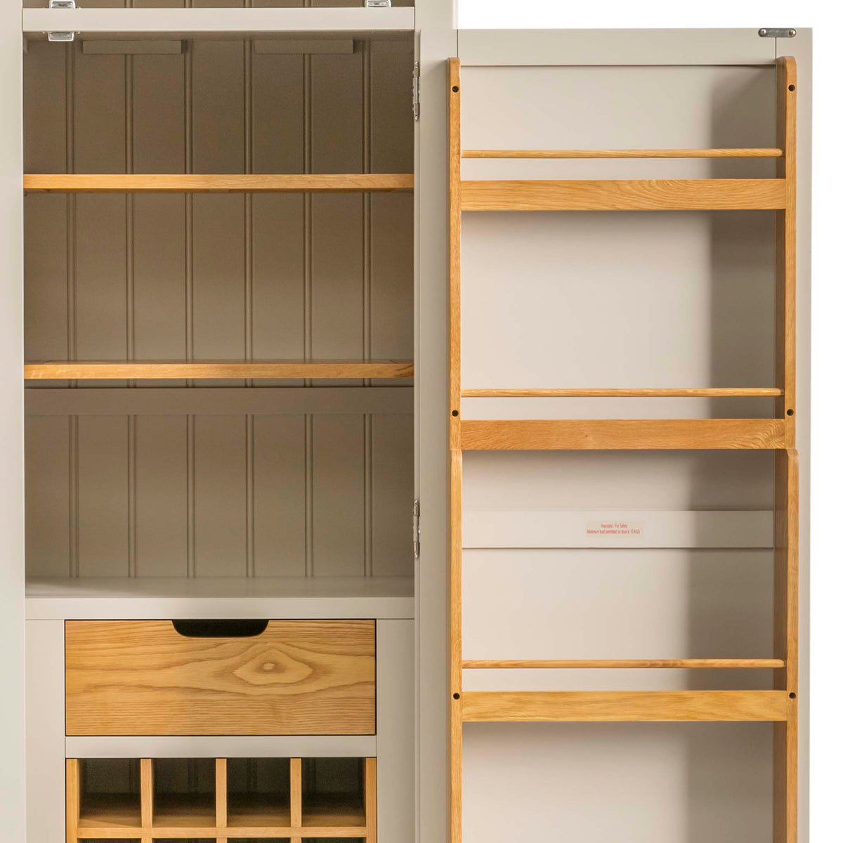 Padstow Stone Grey Small Larder Unit - Close up of inner shelves and spice rack inside door