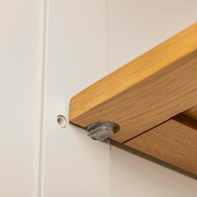 Padstow Stone Grey Small Larder Unit - Close up of shelf fixing