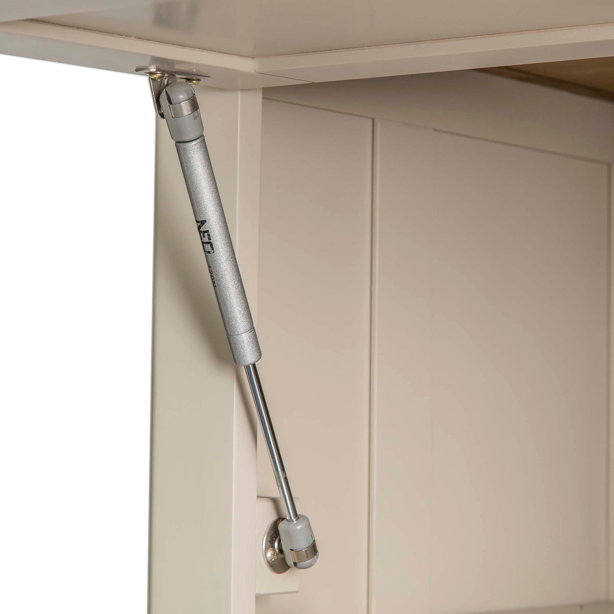 Padstow Stone Grey Small Larder Unit - Close up of Cupboard gas strut