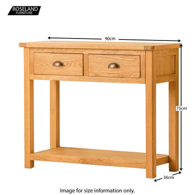 Roseland Oak Console Table - Size Guide