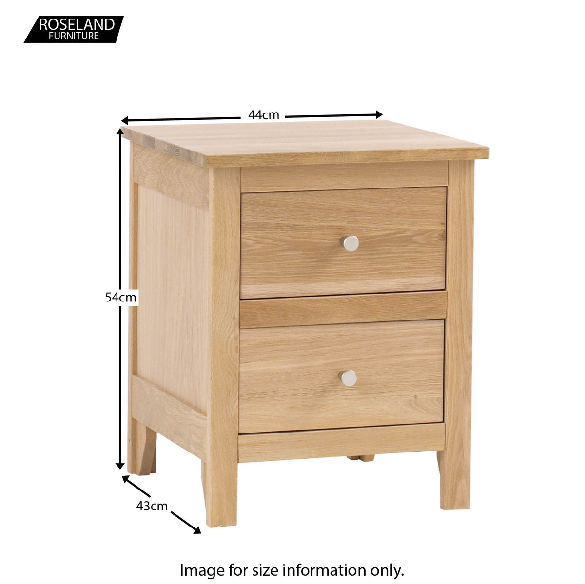 Dimensions - Falmouth Oak Bedside Table