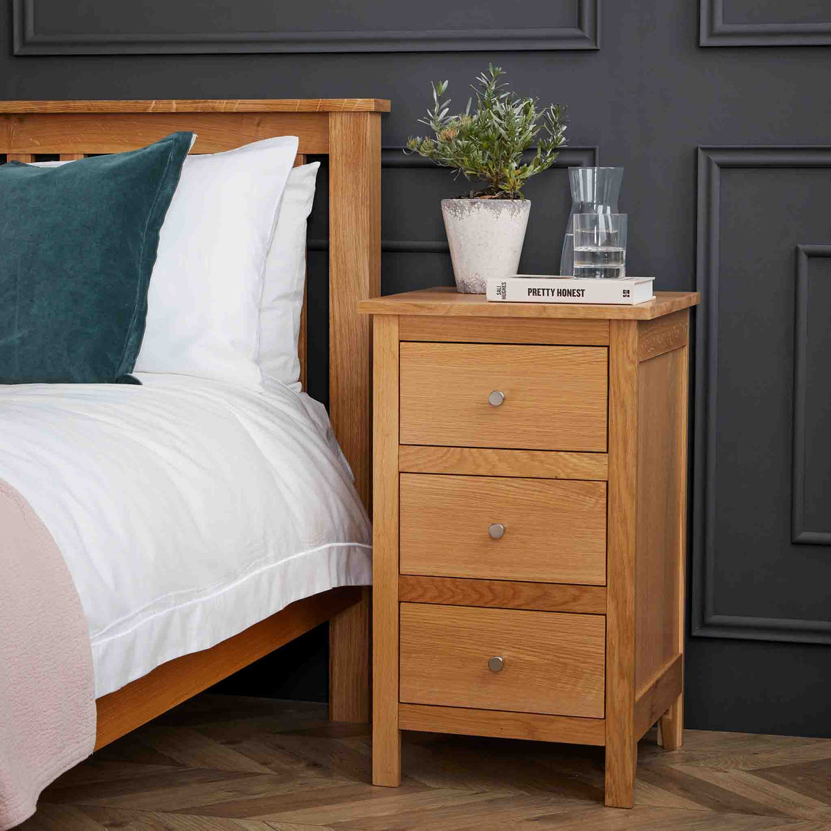 Falmouth Oak 3 Drawer Bedside Table