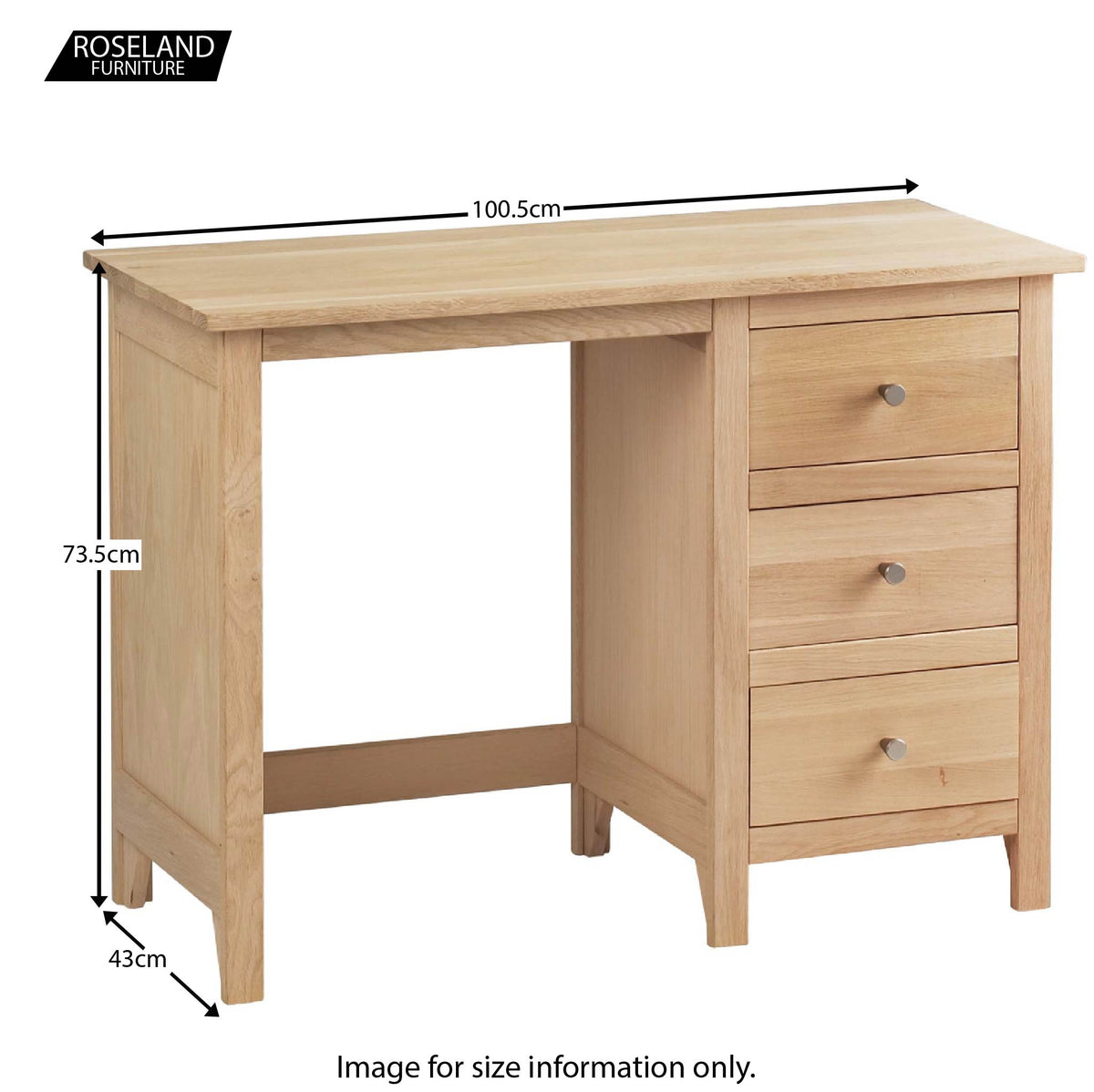 Dimensions - Falmouth Oak Single Pedestal Dressing Table