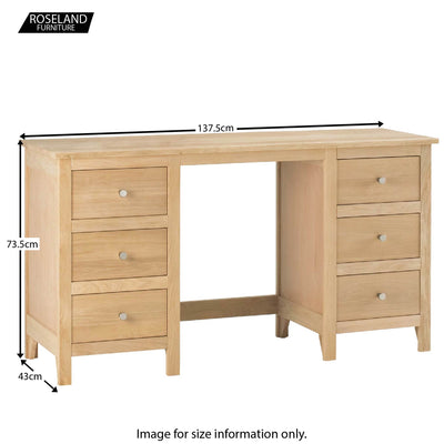 Dimensions - Falmouth Oak Double Pedestal Dressing Table