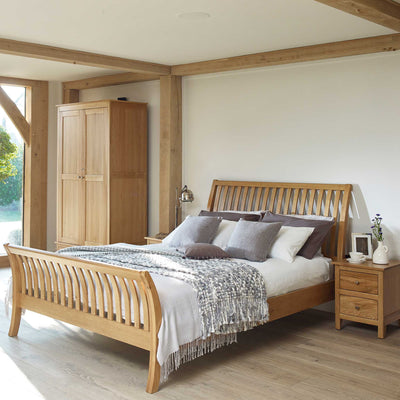 "Falmouth Oak 4'6"" Double Curved Bed Frame"