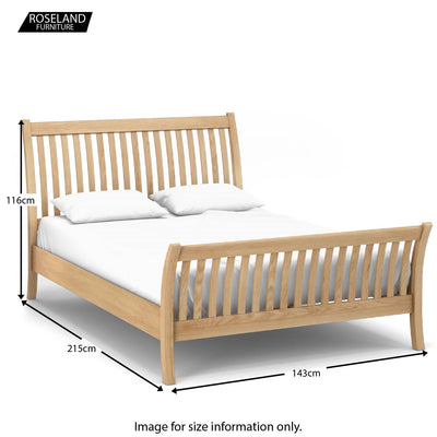 "Dimensions - Falmouth Oak 4'6"" Double Curved Bed Frame"