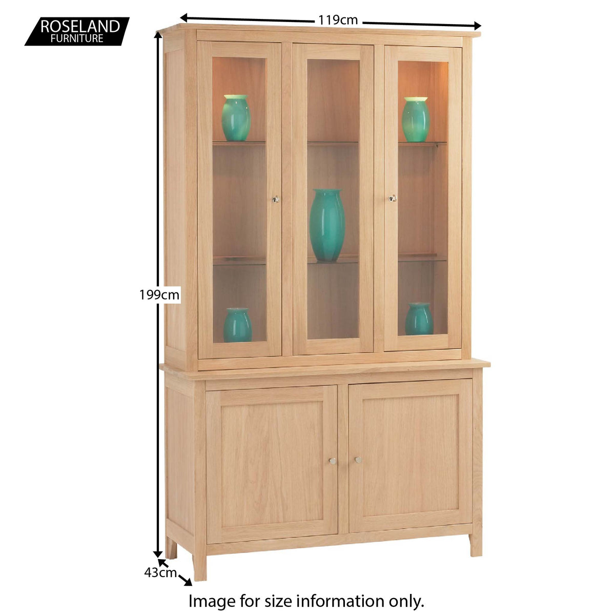 Dimensions - Falmouth Oak Display Cabinet