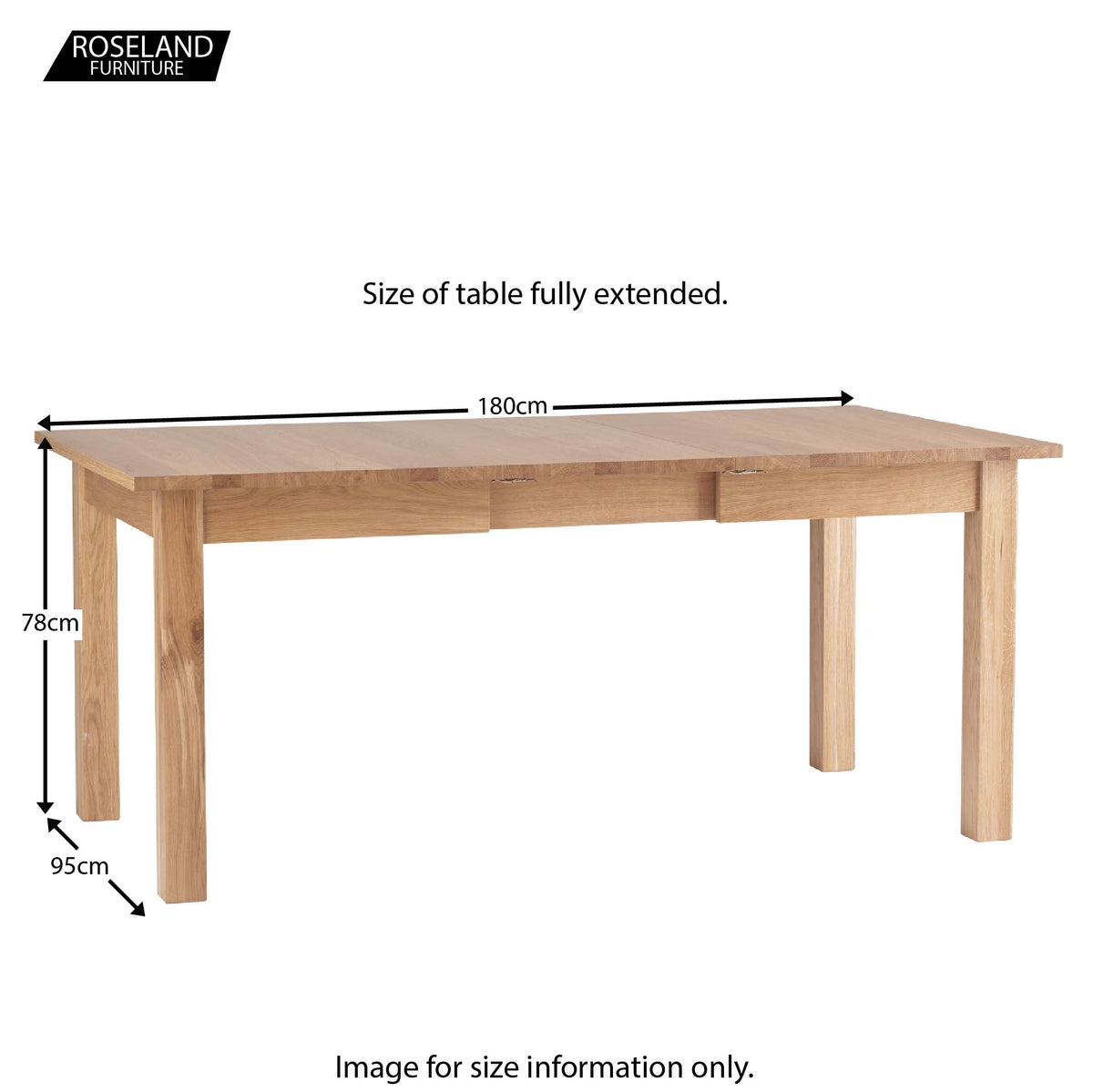 Dimensions extended - Falmouth Oak Large Extending Table