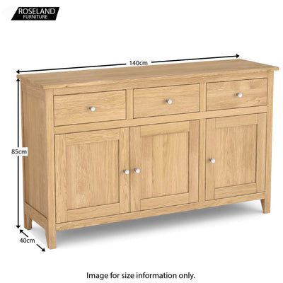 Dimensions - Falmouth Oak Large Sideboard