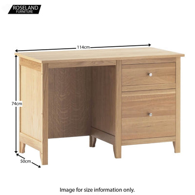 Dimensions - Falmouth Oak Desk with Filing Drawer