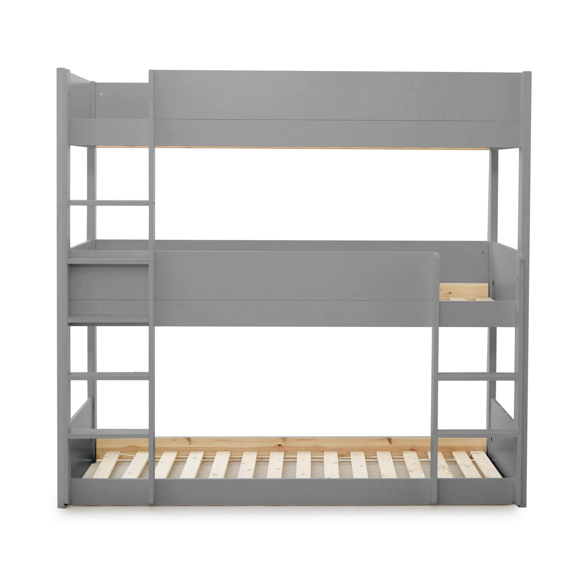 Trio Three Sleeper Single Bunk Beds Grey Or White 3ft Wooden Painted Tower Beds For Kids With Ladders Roseland Furniture