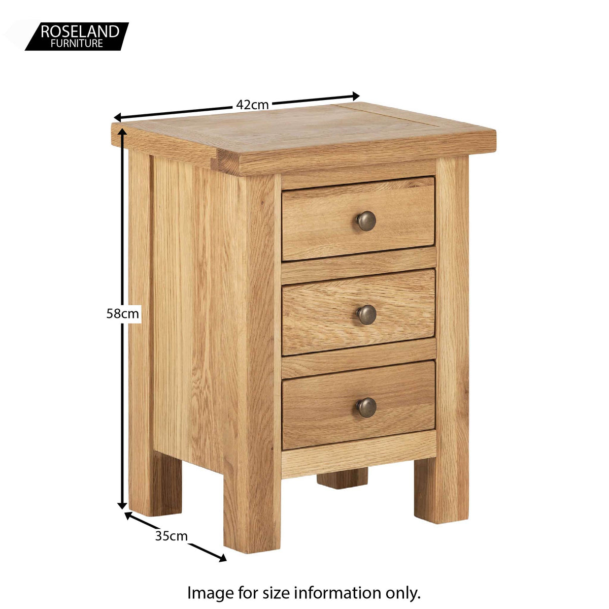 Dimensions - Charlestown Oak Bedside Table