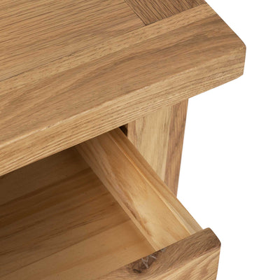 Closeup - Charlestown Oak Side Table with Drawer