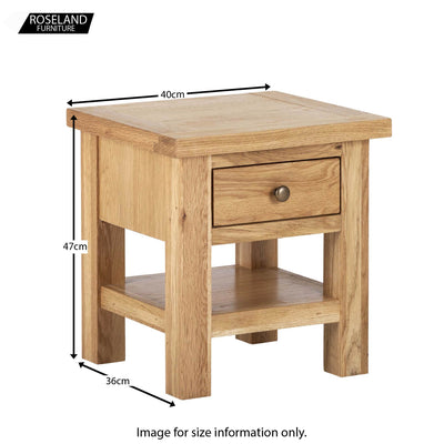 Dimensions - Charlestown Oak Side Table with Drawer