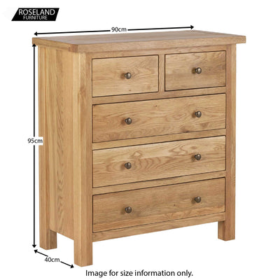 Dimensions - Charlestown Oak Chest of Drawers