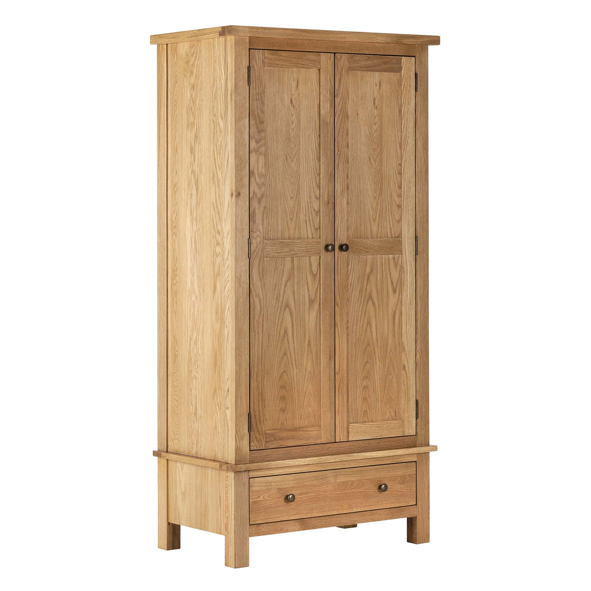 Charlestown Oak Double Wardrobe by Roseland Furniture
