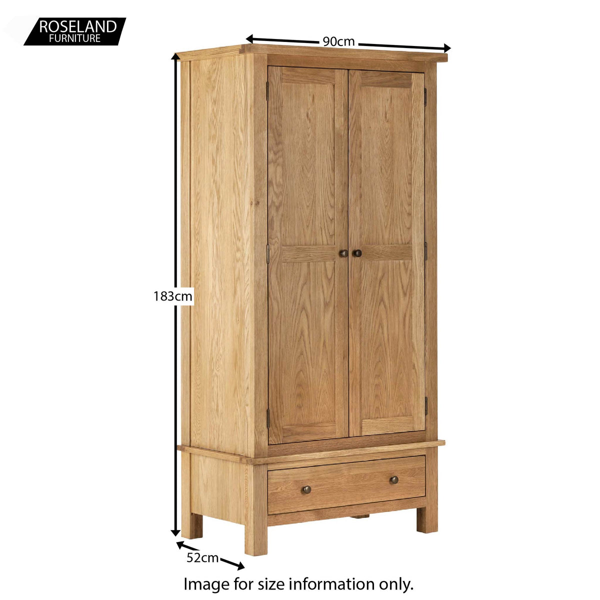 Dimensions - Charlestown Oak Double Wardrobe
